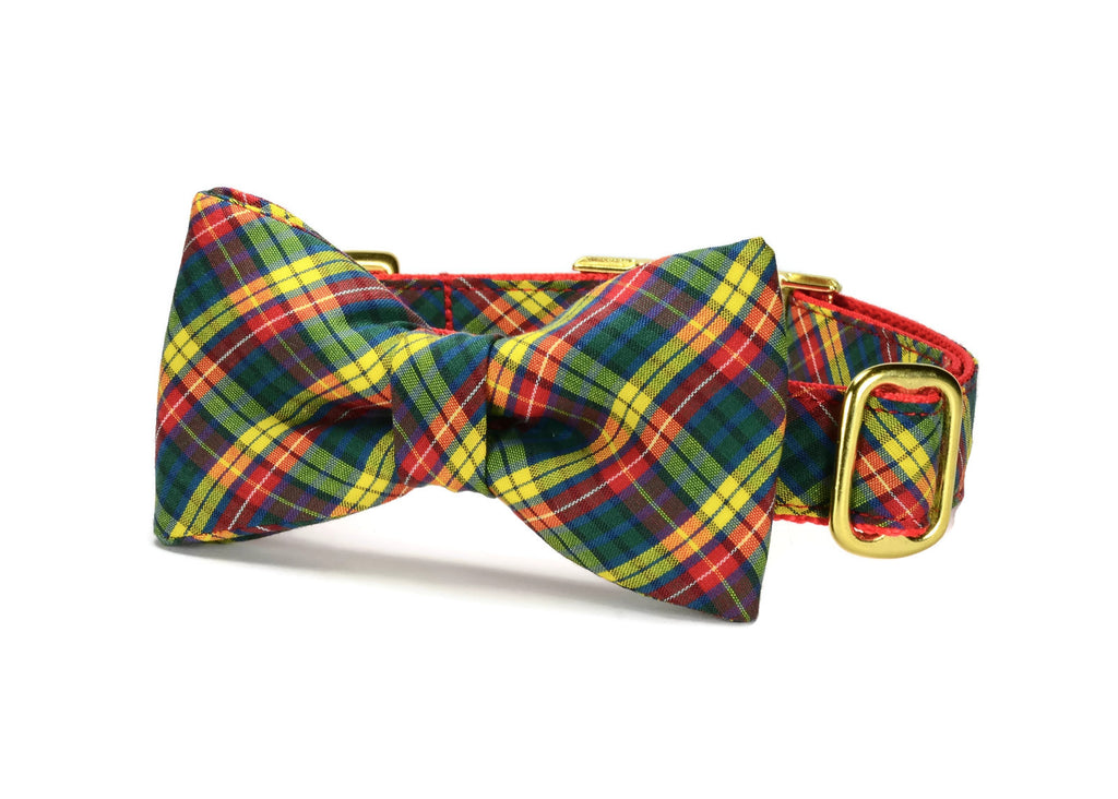 Autumn Plaid Bow Tie Dog Collar w/ Gold Hardware