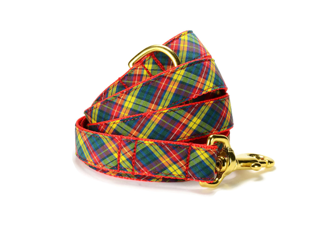 The Autumn Plaid Dog Leash With Gold Hardware