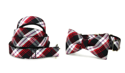 Black And Red Plaid Bow Tie Collar and Leash Set