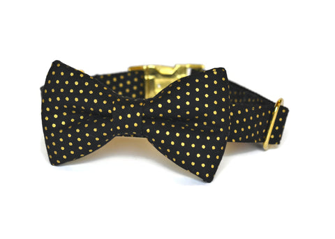 Black And Gold Polka Dot Bow Tie Collar and Leash Set w/ Gold Hardware (Small Dots)