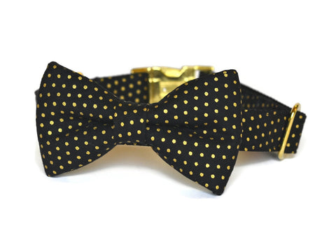 Black And Gold Polka Dot Bow Tie Dog Collar (Small Dots) w/ Gold Hardware