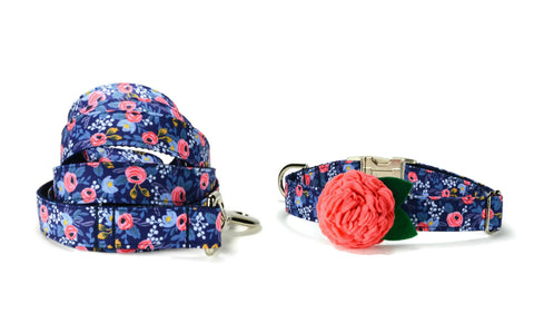 Blue Floral Bloom Collar and Leash Set w/ Coral Bloom