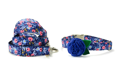 Blue Floral Bloom Collar and Leash Set w/ Blue Bloom