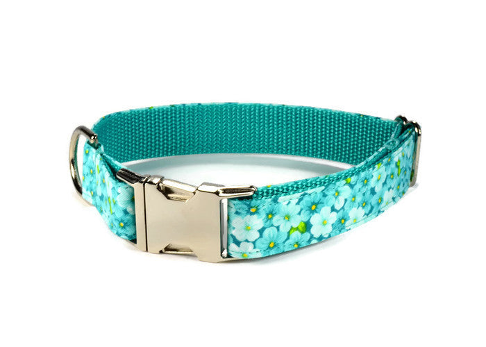 Mint Floral Dog Collar