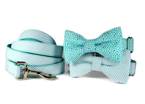 seersucker bow tie collar, seersucker dog bow tie, mint bow tie dog collar, mint dog bow tie collar, bowtie collar, mint stripe bow tie collar, stripe dog bow tie, striped bow tie collar,