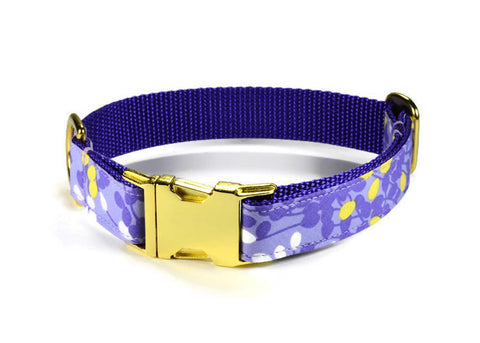 Lovely Lavender Bloom Dog Collar w/ Orchid Bloom and Gold Hardware