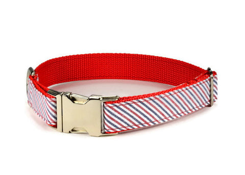 dog collar, seersucker dog collar, red stripe dog collar, navy red dog collar, preppy dog collar, nautical dog collar, seersucker collar