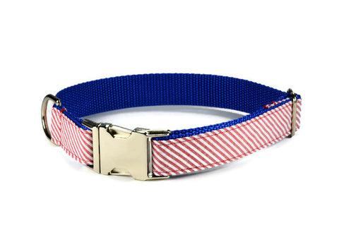 dog collar, seersucker dog collar, red stripe dog collar, red dog collar, preppy dog collar, nautical dog collar, summer dog collar, seersucker collar