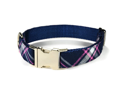 dog collar, plaid dog collar, navy plaid dog collar, navy pink dog collar, preppy dog collar, girl dog collar