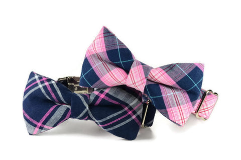 bow tie dog collar, navy plaid dog bow tie collar, navy pink bow tie collar, bow tie for dog, bowtie collar, bowtie for dog, Charleston Bow Tie Collar,