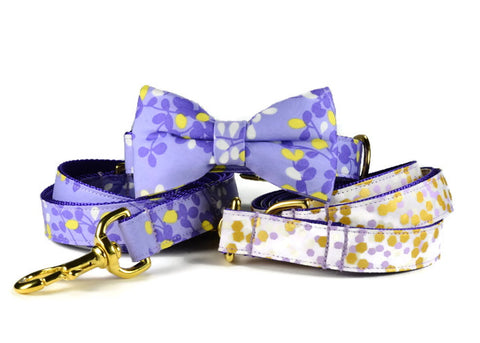 lavender bow tie collar, purple bow tie dog collar, lavender dog bow tie, purple dog bow tie, gold hardware, lavender and gold bow tie dog collar