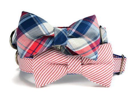 seersucker bow tie dog collar, seersucker dog bow tie collar, seersucker bow tie for dog, red bowtie collar, bowtie for dog, Red Seersucker Bow Tie Collar