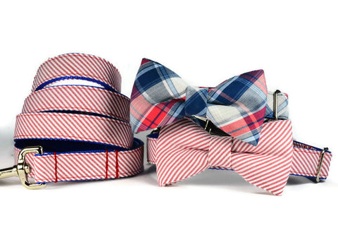 seersucker bow tie dog collar, seersucker dog bow tie collar, seersucker bow tie for dog, red bowtie collar, bowtie for dog, Red Seersucker Bow Tie Collar,