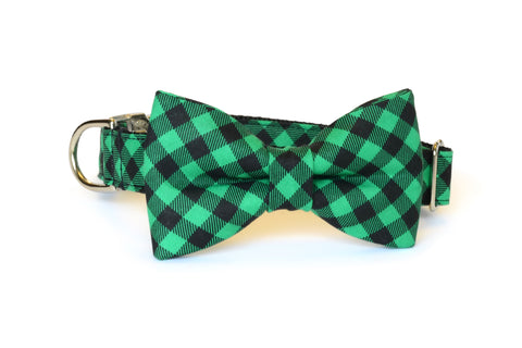 Green & Black Buffalo Plaid Bow Tie Dog Collar
