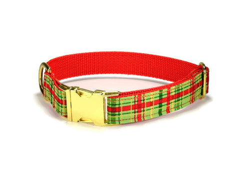 Christmas Glitz Bloom Collar and Leash Set w/ Gold Hardware
