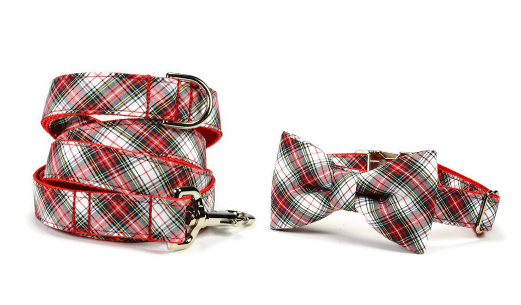Christmas Plaid Bow Tie Collar and Leash Set