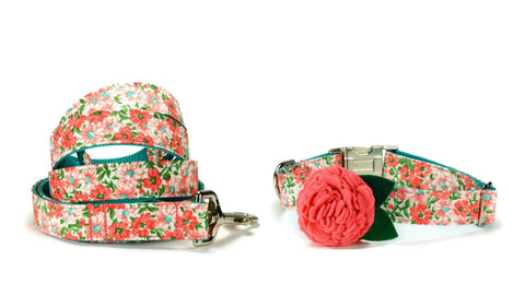 Coral Floral Bloom Collar and Leash Set w/ Coral Bloom