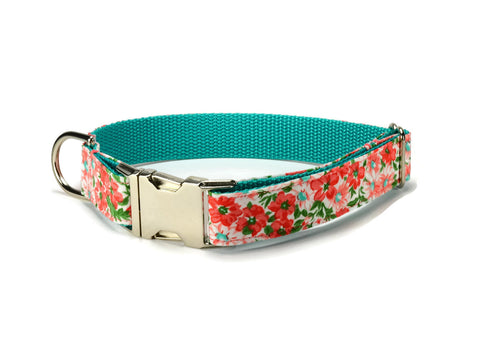 Coral Floral Bloom Dog Collar w/ Coral  Bloom