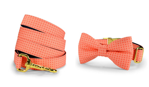 Coral Polka Dot Bow Tie Collar and Leash Set w/ Gold Hardware