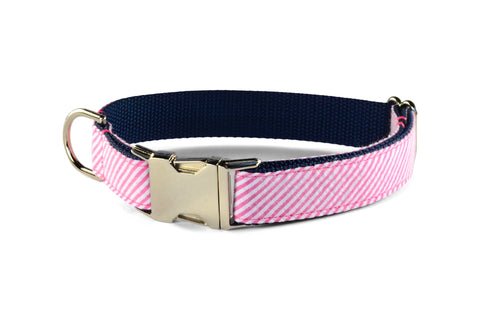 New! Pink Seersucker Dog Collar
