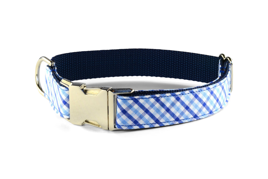 New! Blue On Blue Gingham Dog Collar