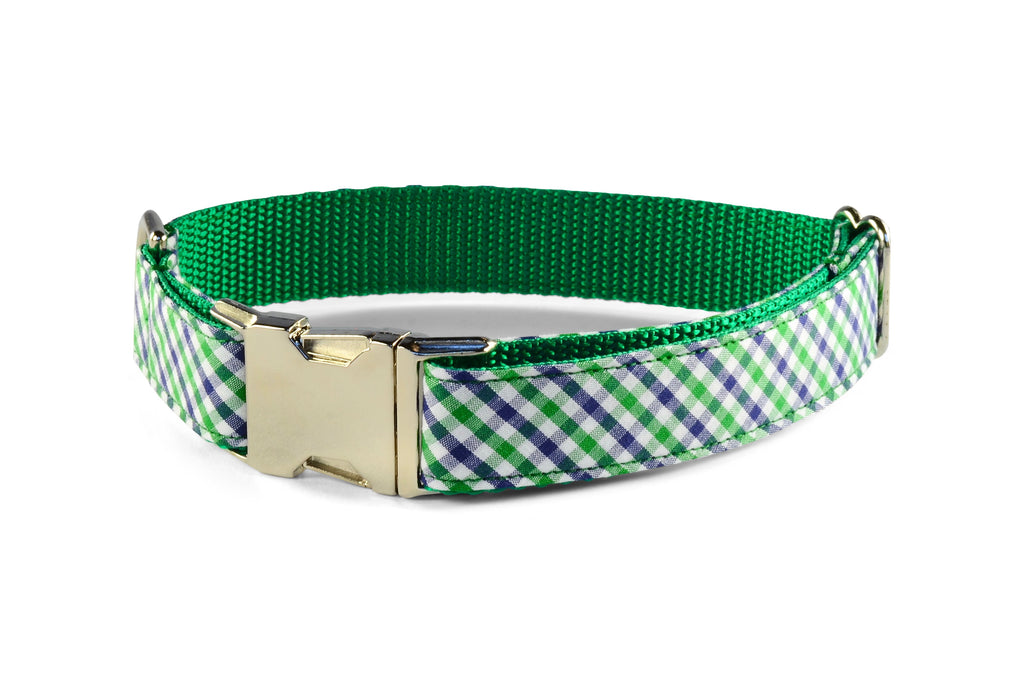 New! Green And Navy Gingham Dog Collar