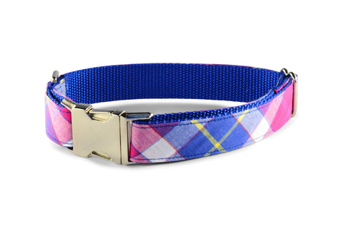 New! Springtime Plaid Bow Tie Dog Collar