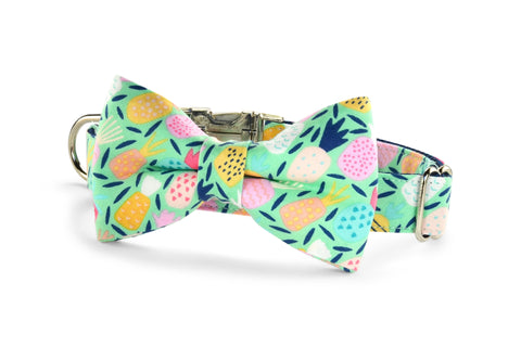 New! Juicy Pineapple Bow Tie Dog Collar