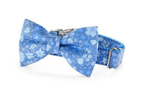 New! Periwinkle Floral Bow Tie Dog Collar