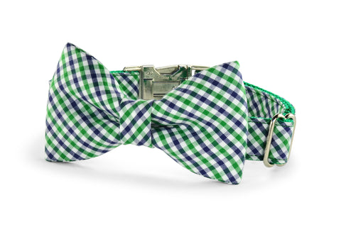 New! Green And Navy Gingham Bow Tie Dog Collar