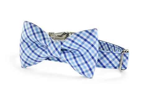 New! Blue On Blue Gingham Bow Tie Dog Collar