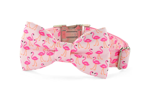 New! Pink Flamingo Bow Tie Dog Collar