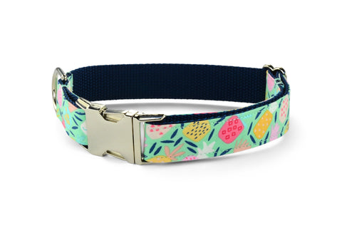 New! Juicy Pineapple Bloom Collar and Leash Set w/ Mint Bloom