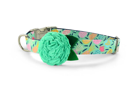 New! Juicy Pineapple Bloom Dog Collar w/ Mint Bloom