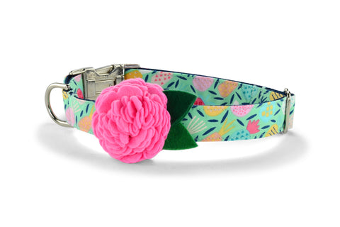 New! Juicy Pineapple Bloom Dog Collar w/ Carnation Bloom