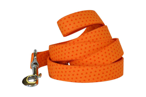 Orange Citrus Polka Bow Tie Dog Collar and Leash Set