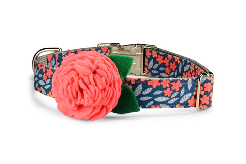 Indigo And Coral Floral Bloom Dog Collar w/ Coral Bloom