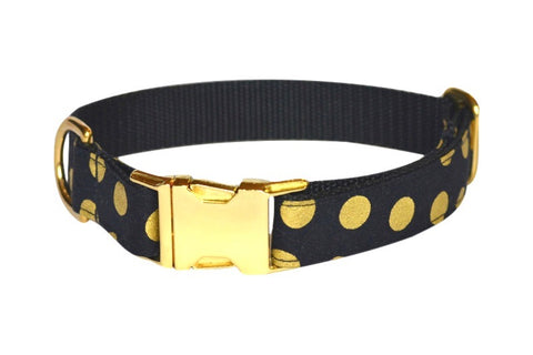 Black and Gold Large Polka Dot Dog Collar w/ Gold Hardware