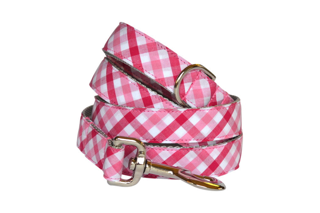 Red And Pink Gingham Dog Leash