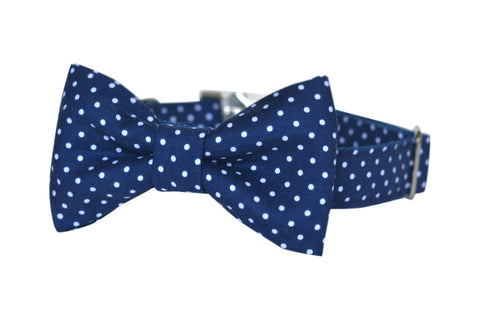 Navy Polka Dot Bow Tie Dog Collar | Bowtie