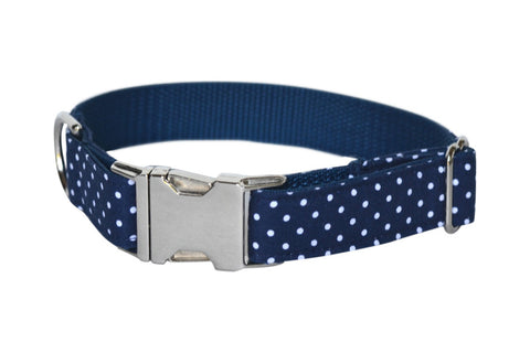 navy polka dot dog collar | Bone & Bow Tie