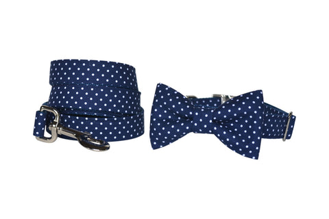 Navy Polka Dot | Handmade Dog Collar | Bone & Bow Tie