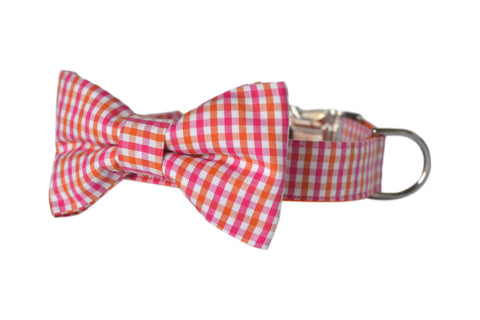 Orange And Pink Gingham Bow Tie Dog Collar and Leash Set