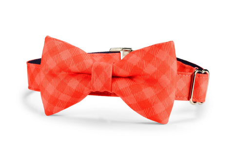 Dark Coral Gingham Bow Tie Dog Collar