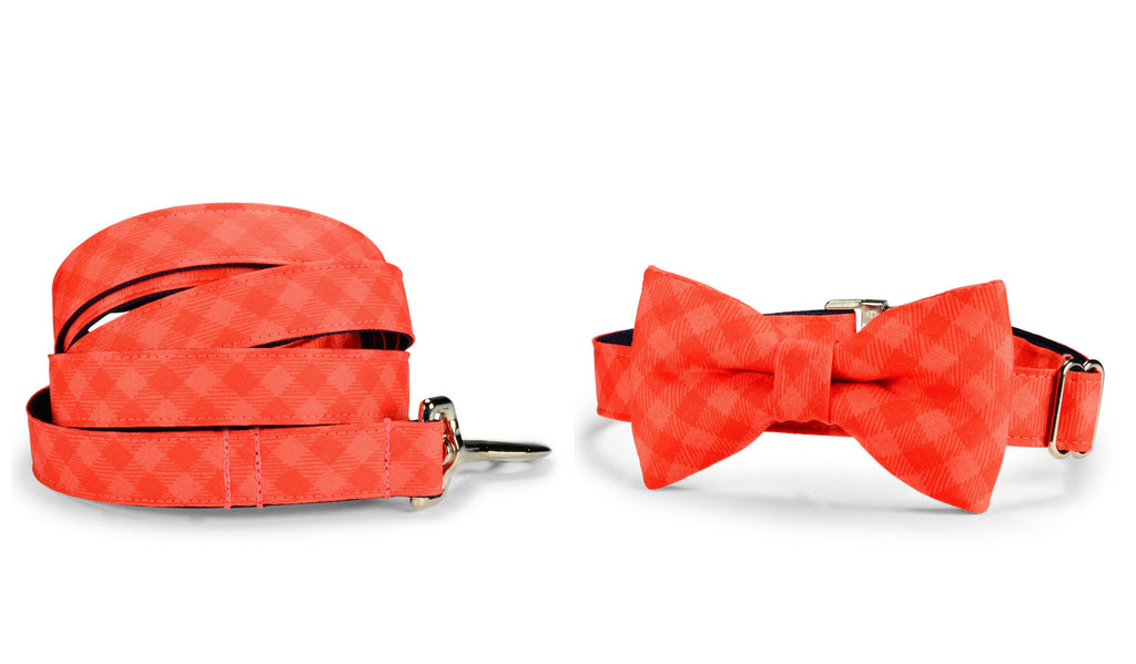 Dark Coral Gingham Bow Tie Collar and Leash Set