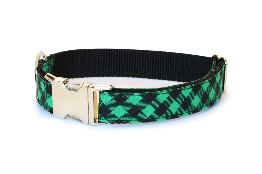 Green & Black Buffalo Plaid Dog Collar