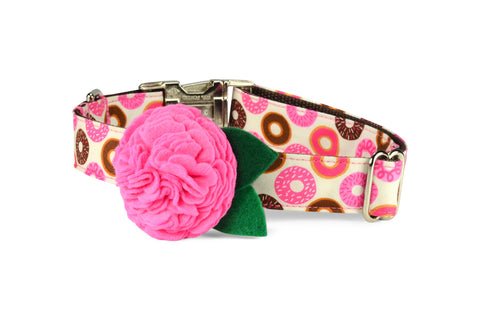 Donut Lover Bloom Dog Collar w/ Carnation Bloom