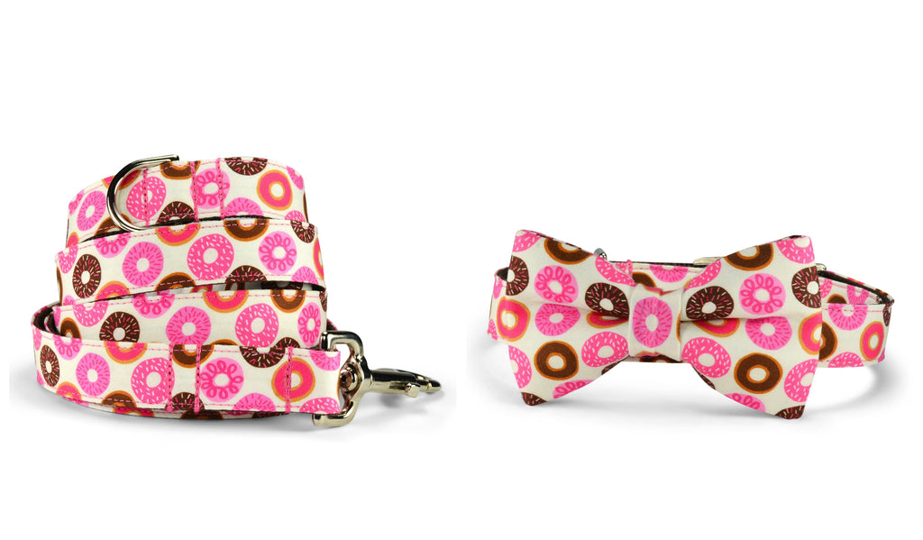 Donut Lover Bow Tie Collar and Leash Set