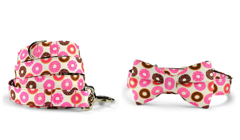 New! Donut Lover Bow Tie Collar and Leash Set