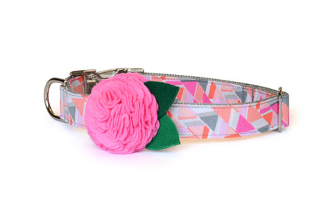 New! The Emmy Bloom Dog Collar w/ Carnation Bloom